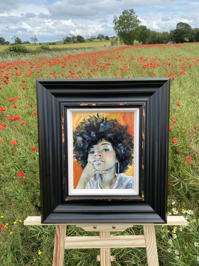 Elyse with frame by Vicki Davidson Artist. North Yorkshire artist