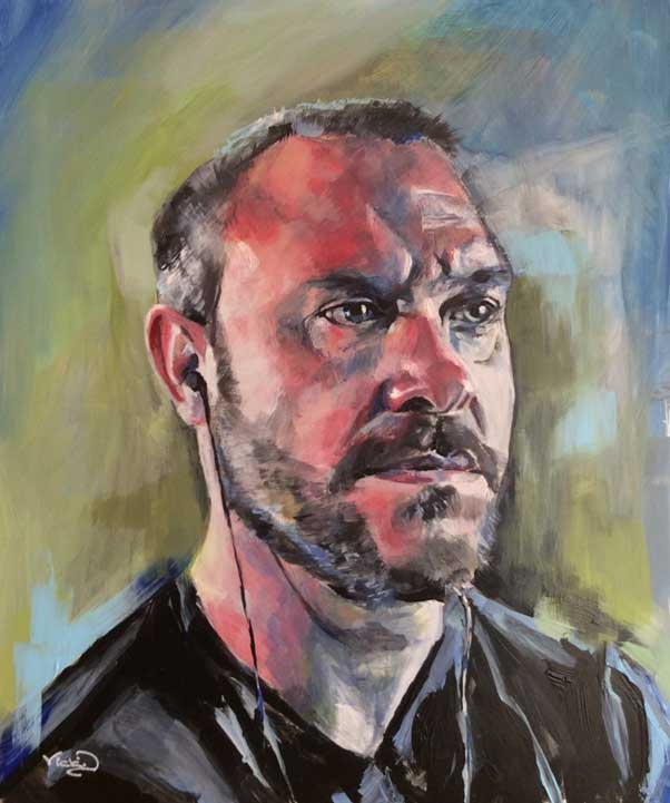 Painting Will Young. Portrait by Vicki Davidson
