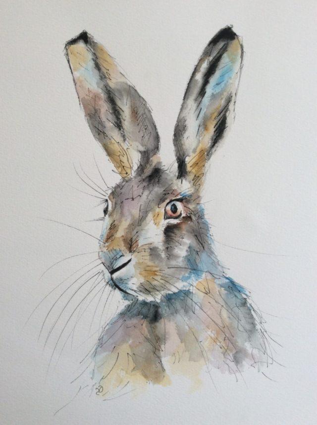 Watercolour Hare by North Yorkshire artist Vicki Davidson