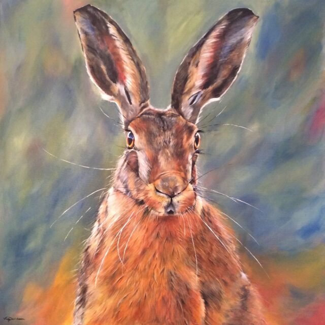 Yorkshire Hare. Hare painting by North Yorkshire artist Vicki Davidson