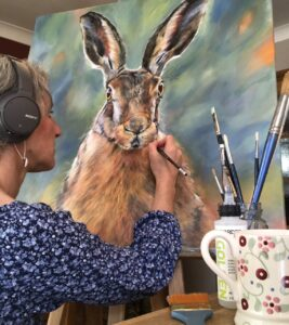 Vicki Davidson Painting Large Acrylic Hare