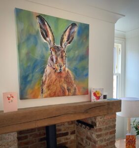 Yorkshire Hare home above fireplace