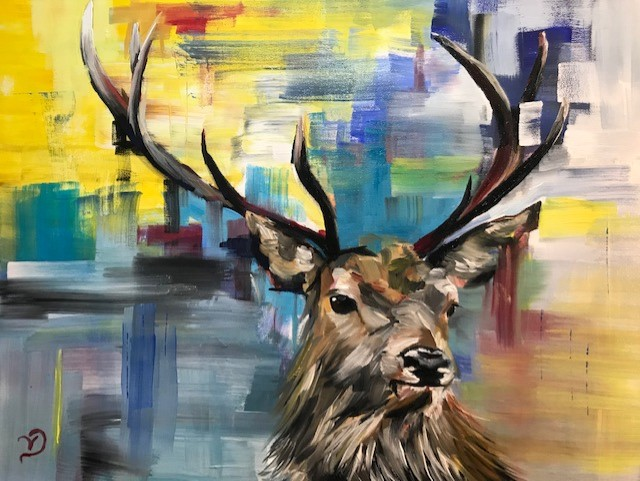 Abstract Stag painting by North Yorkshire artist Vicki Davidson
