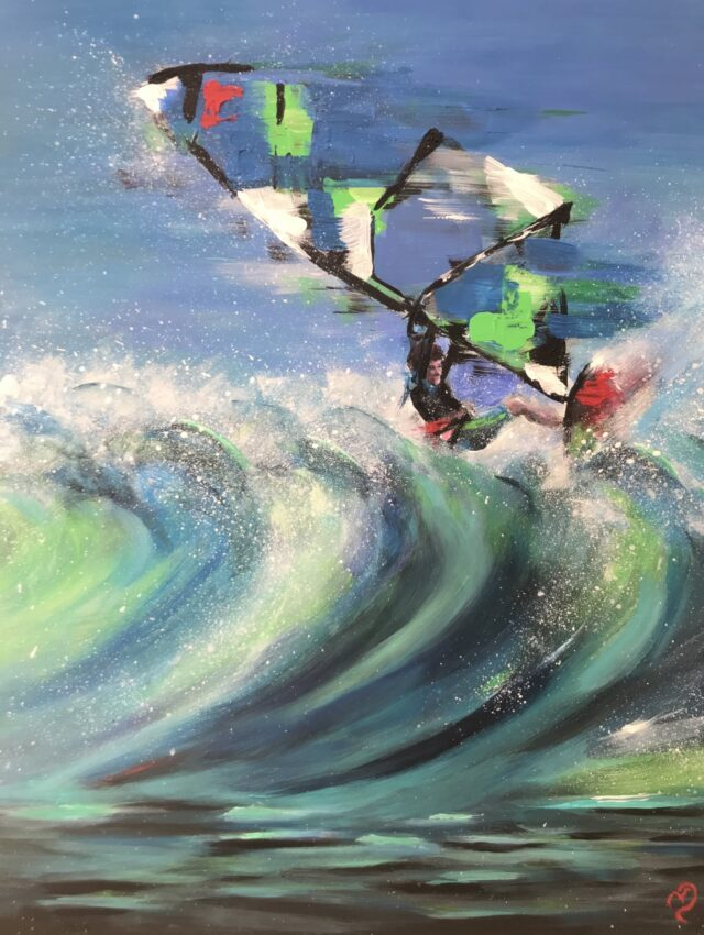 Wave Rider. North Yorkshire artist Vicki Davidson. Windsurf art