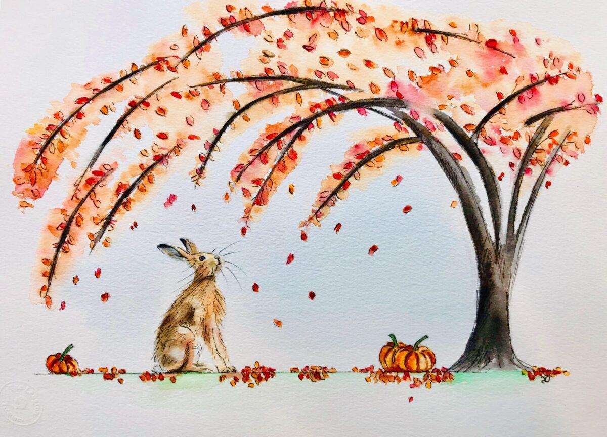 Autumn Hare. Watercolour artwork by North Yorkshire artist Vicki Davidson