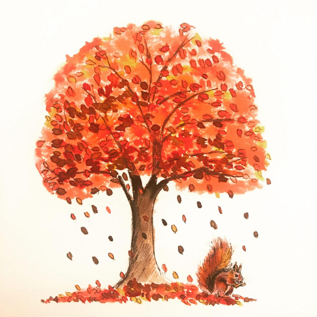 Original ink drawing by Vicki Davidson. Squirrel under tree. Autumn