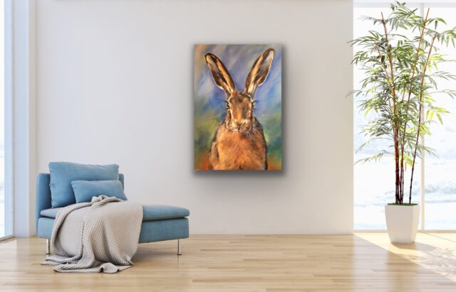 Happy Hare. Interior design North Yorkshire. Art for the wall. Hare
