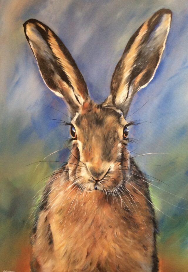 Happy Hare. Hare art by North Yorkshire artist Vicki Davidson