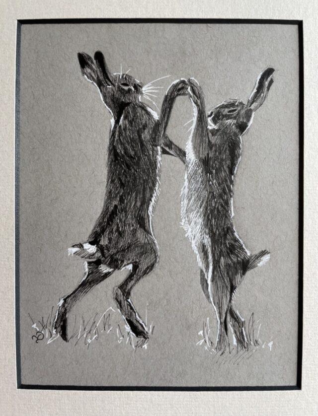 Boxing Hares. Dancing Hares. Original ink drawing