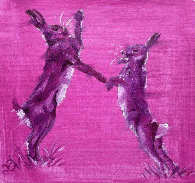 Pink boxing hares. Oil sketch by North Yorkshire artist Vicki Davidson