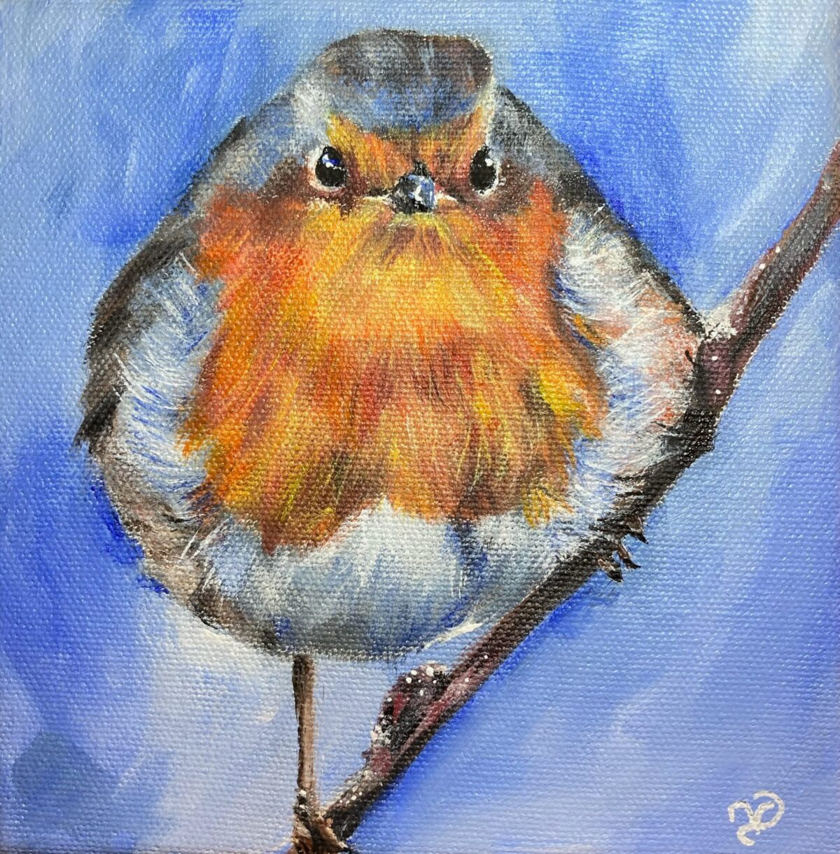 Robin. Acrylic painting by North Yorkshire artist Vicki Davidson