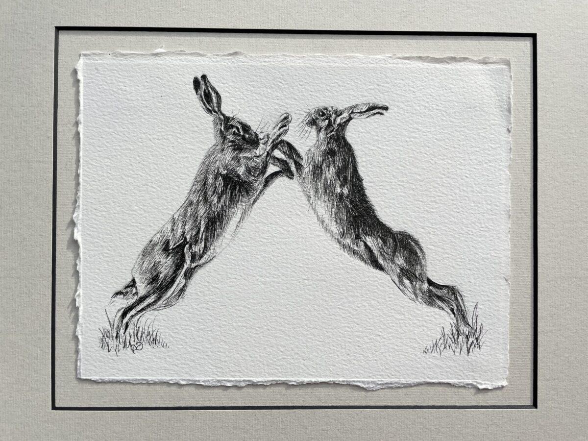 Original ink drawing. Boxing Hares. Vicki Davidson North Yorkshire