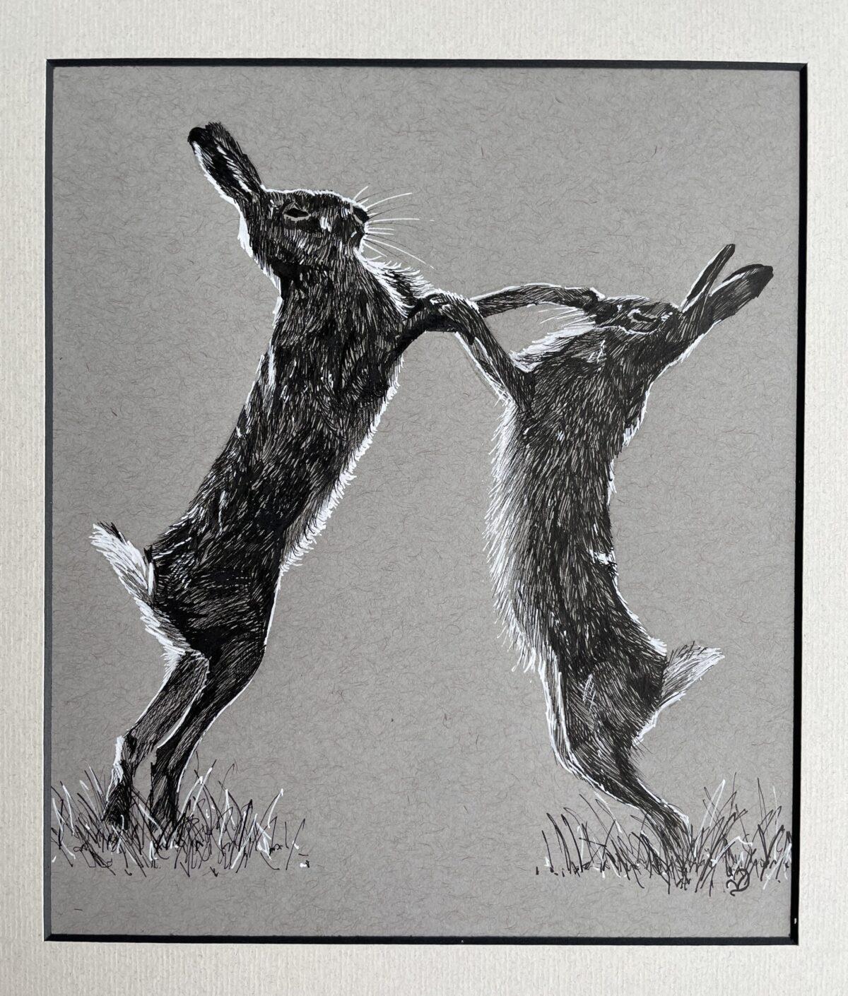 Boxing Hares. Original ink drawing by North Yorkshire artist Vicki Davidson
