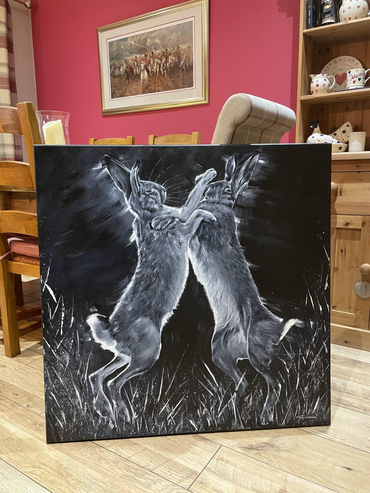 Boxing Hares, monochrome by Vicki Davidson