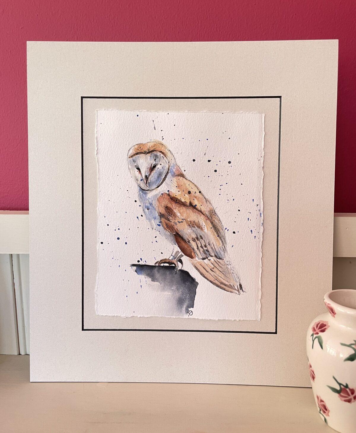 Mounted original barn owl watercolour sketch