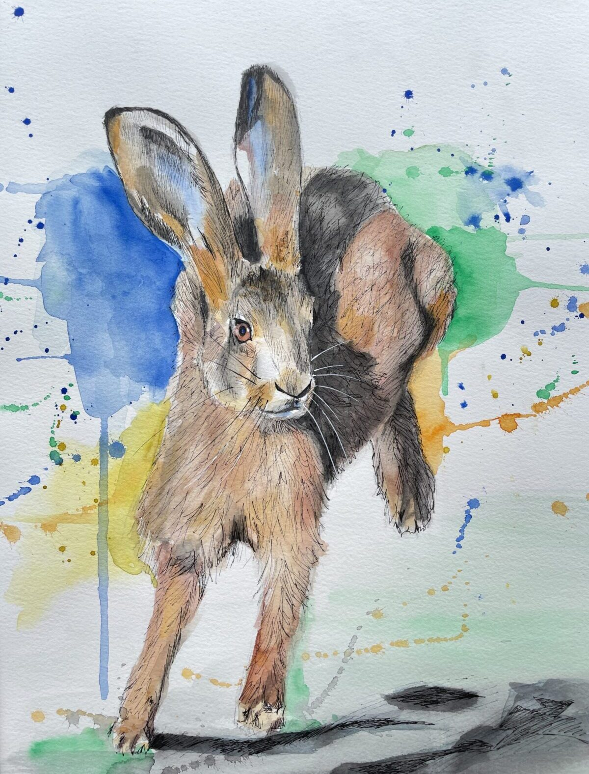 Vivid and splashy watercolour hare painting
