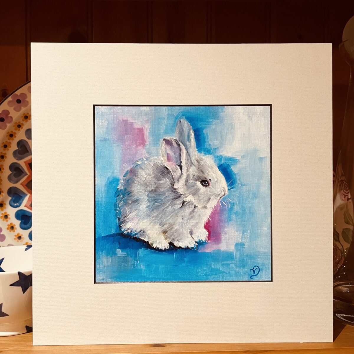 Oil painting rabbit, blue and pink