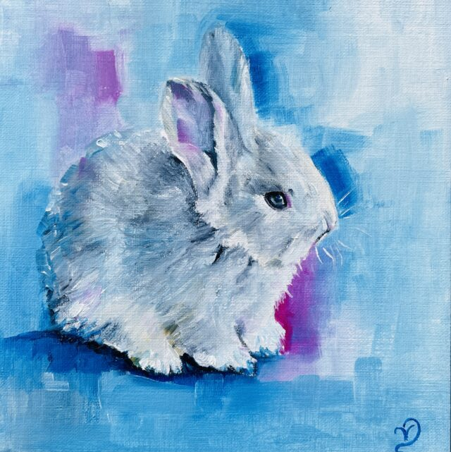 Bunny oil painting, blue and pink