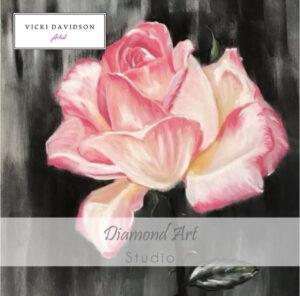 Pink rose diamond painting