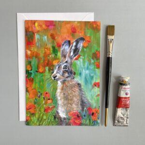 Poppy Hare greeting card by Vicki Davidson
