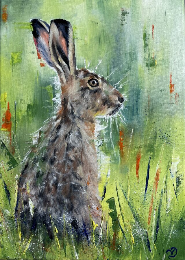 Green Hare oil painting by Vicki Davidson