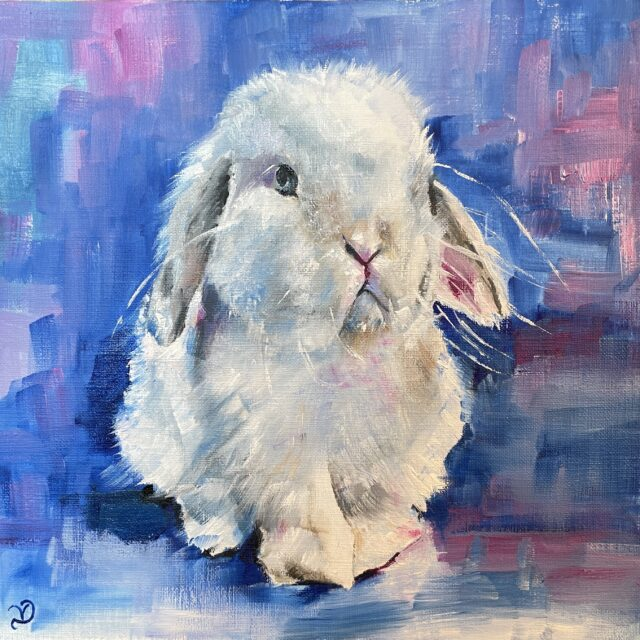 Sad bunny oil paint with pink and blue background