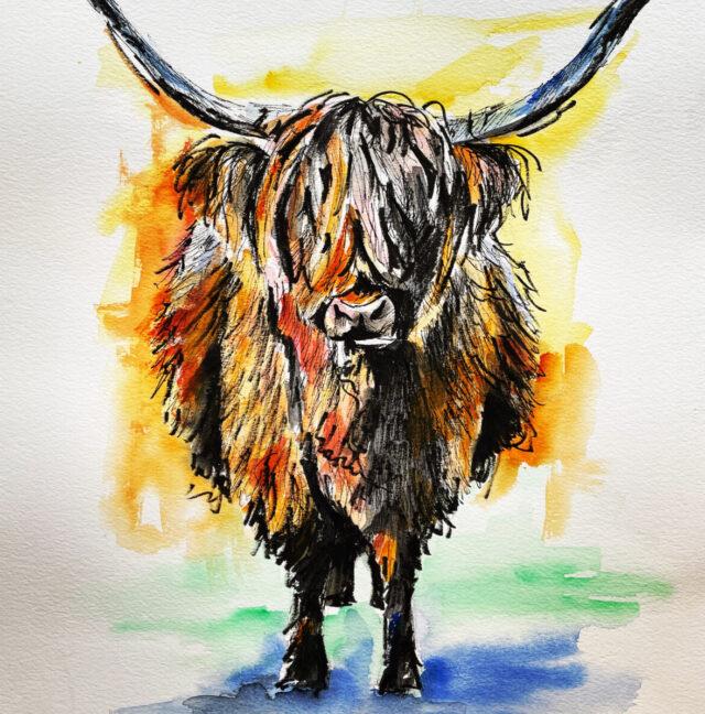Highland Cow by artist Vicki Davidson